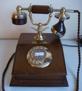 Nostalgie Post Telefon LYON mit Waehlscheibe Antik Design aus Holz
