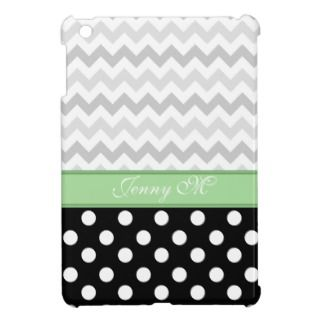 Gray Chevron Black Polka Dot Green iPad Mini Case