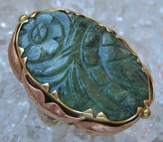 14kt 585 Gold Ring Jugendstilring Jadering Jade Schmuck Jugendstil 304