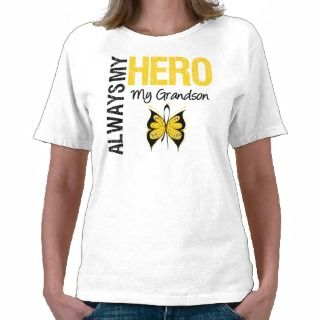 Childhood Cancer Always My Hero My Grandson Shirt