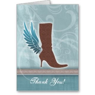 Thank You Card w/ fun Angel Wing Brown Boot