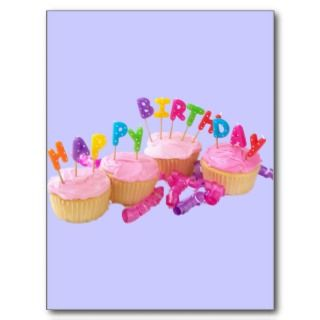 Happy Birthday Cupcake and Candles Postcards