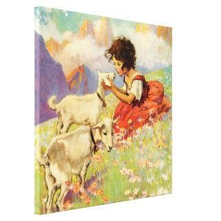 "Heidi and Her Goats"" by Jessie Willcox Smith Gallery Wrap Canvas"