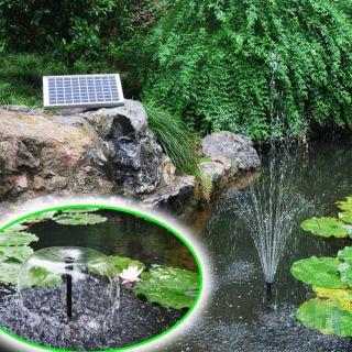 10 Watt Solar Springbrunnen Teich Pumpe LED AKKU Garten Solarpumpe