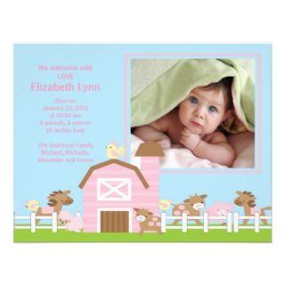 Farm Animal Baby Girl Birth Photo Announcement