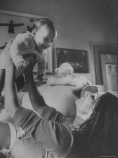 Actress Sophia Loren and Her New Born Son, Carlo Ponti, Jr. in the Bedroom of Her Villa Premium Photographic Print by Alfred Eisenstaedt