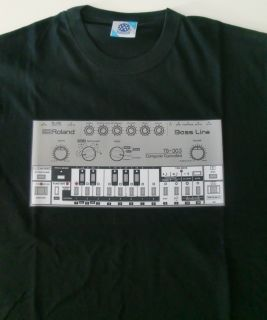 High Quality Roland TB 303 T Shirt With The Cult Bass Line Design.