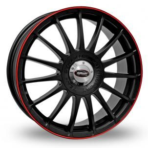 4x 16 Team Dynamics Monza RS Black/Red Alloy Wheels + Free Fitting