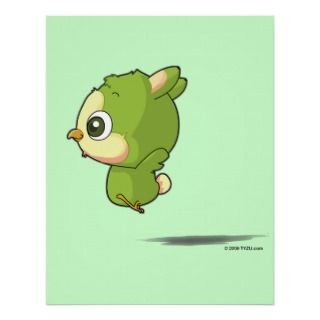 Cute flying bird funny cartoon character poster