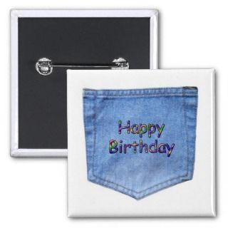 Jean Pocket Happy Birthday Buttons