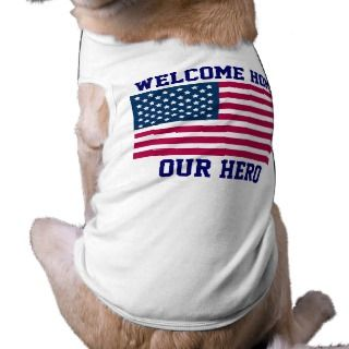 WELCOME HOME US TROOPS   DOG RIBBED T SHIRTS   FUN PET CLOTHES