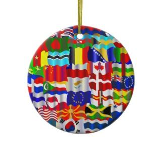 Wavy Flag Wallpaper Christmas Tree Ornament