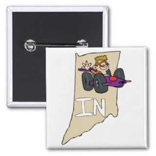 Indiana IN Map & Indy 500 Race Car Cartoon Pins