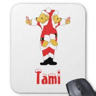 Your Name Here! Custom Letter T Teddy Bear Santas Mousepad
