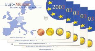 BRD Kursmünzensatz (orig., nom. 3,88 Euro) 2003 ADFGJ PP
