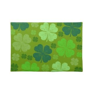 Saint Patrick Day Lucky Green Four Leaf Clovers Placemats