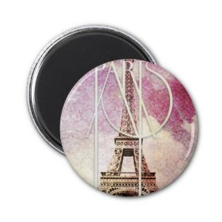 Girly pink, purple damask Eiffel Tower, Paris Refrigerator Magnet