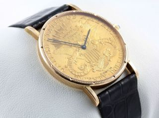 CORUM 18 KARAT GELBGOLD TWENTY 20 DOLLAR $ COIN WATCH MÜNZUHR
