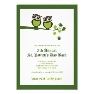 St. Patricks Day Green Owls Party Invitation