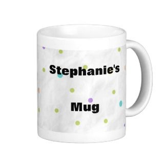 Personalised Coffee Mug Polka Dots Just Add Name