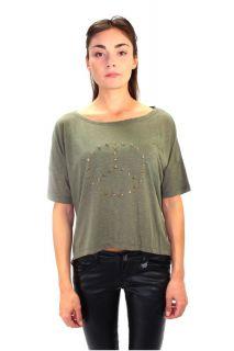 Damen Shirt T shirt Hemd mit goldenen Peacezeichen aus Nieten Khaki