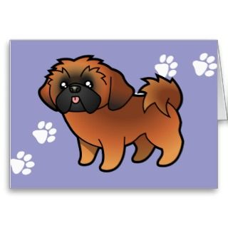 Cartoon Shih Tzu (red puppy cut) cards by SugarVsSpice