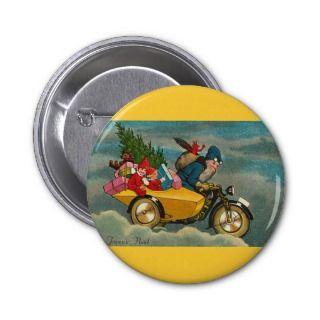 Santa Rides a Motorcycle   Christmas Buttons