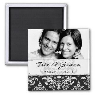 GC  Erika Vintage Damask Save the Date Charcoal Fridge Magnets
