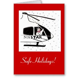 Safe Holidays Snowman and Helicopter Greeting Cards