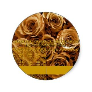 GOLD Roses   Wedding Thank You Envelope Seal Stickers