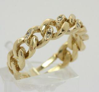 8kt 333 moderner Ketten Gold Ring Kettenring Diamantring Diamant