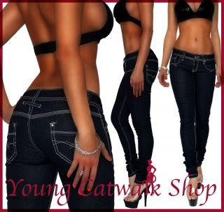 10j) Damen Skinny Hüft Jeans Hose Dark Blue 34 XS   42 XL