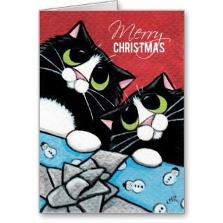 Tuxedo Cats and a Xmas Present Christmas Card