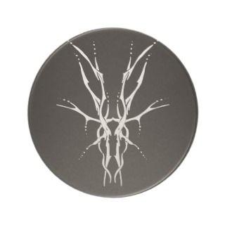 Deer Skull Tribal Tattoo   white on black Coasters