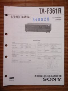 Service Manual Sony TA F361R Amplifier,ORIGINAL