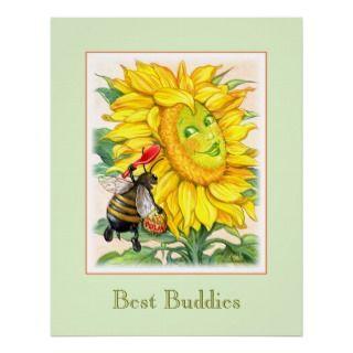 Cue Bee & Big Sunflower Green Border Poser Prin