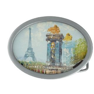 Painting Of Paris Eiffel Tower Scene Belt Buckles