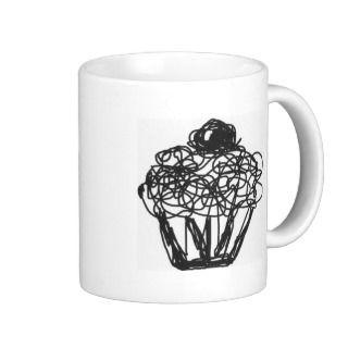 Cupcake Scribble Line Drawing Coffee Mugs