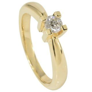 Bella Donna Damen Ring 14 Karat Gelbgold 1 Diamant 0,35ct. weiss