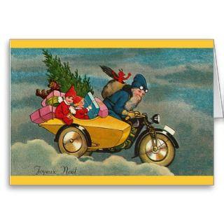 Santa Rides a Motorcycle   Christmas Greeting Cards