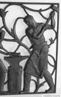Großes Buderus Kunstguss Art Deco Wandrelief Relief Gusseisen Guss