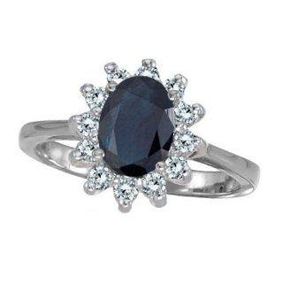 Allurez   Lady Diana Blue Sapphire & Diamond Ring 14k White Gold (2,10