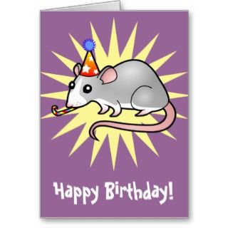 Birthday Rat (silver blaze) cards by SugarVsSpice