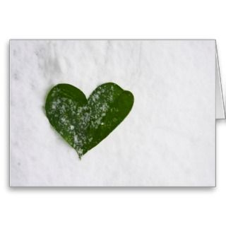 Natures Winter Snow Romantic Heart of Love Greeting Card