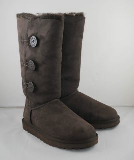 100% Original UGG AUSTRALIA BOOTS BAILEY BUTTON TRIPLET Chocolate