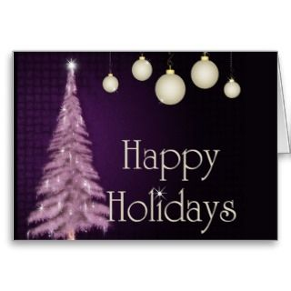Purple Christmas Tree w/White Bulbs Greeting Card