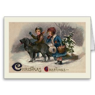 Dog Pulling Sled Christmas Greeting Card