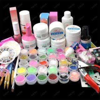 65 in1 UV Gel & Acrylic Nail Art Manicure Decor Glitter Powder 9W Lamp