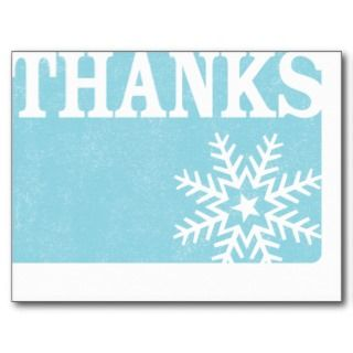 Thank you vintage snowflake christmas postcard