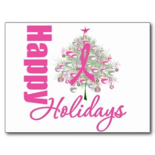 Happy Holidays Breast Cancer Pink Ribbon Post Card